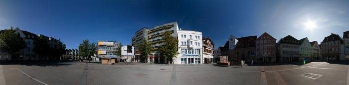 360 degrees panorama of the market place in Reutlingen, Germany