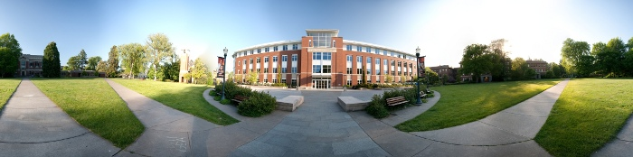 360 degrees panorama of the Valley Library at Oregon State University (OSU) in Corvallis, OR, USA